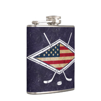 American USA Flag Hockey Logo Hip Flask