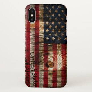 American USA flag on wood iPhone X Case