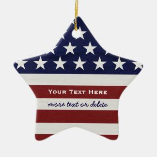American USA Flag Patriotic July 4th Christmas Christmas Ornament