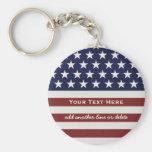 American USA Flag Patriotic July 4th Custom Basic Round Button Key Ring