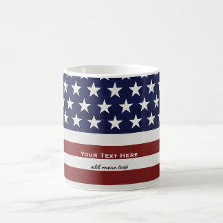 American USA Flag Patriotic July 4th Custom Basic White Mug