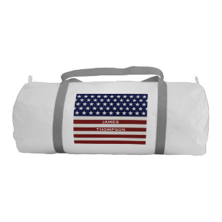 American USA Flag Patriotic July 4th Custom Gym Duffel Bag