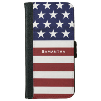 American USA Flag Patriotic July 4th Custom iPhone 6 Wallet Case