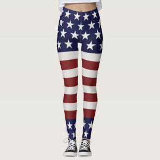 American USA Flag Patriotic July 4th Custom Leggings