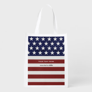 American USA Flag Patriotic July 4th Custom Reusable Grocery Bag