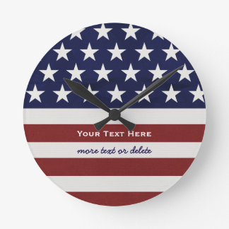 American USA Flag Patriotic July 4th Custom Round Clock