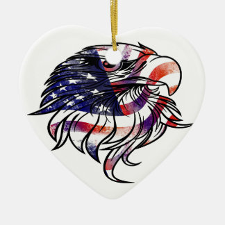 American USA National Flag Eagle Independence Day Ceramic Heart Decoration
