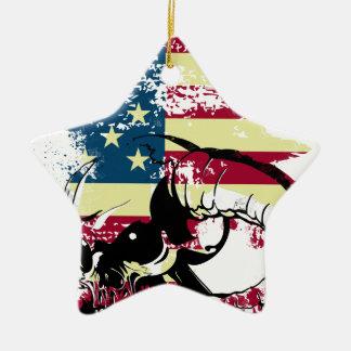 American USA Skull Christmas Ornament