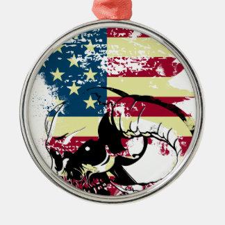 American USA Skull Silver-Colored Round Decoration