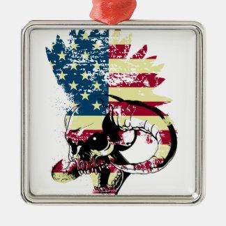 American USA Skull Silver-Colored Square Decoration
