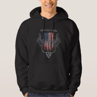 American Viking. Flag, Distressed, Celtic Helmet Hoodie