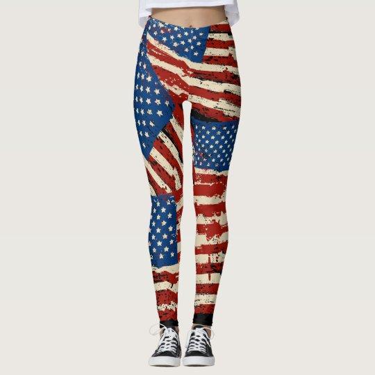 American vintage flag leggings