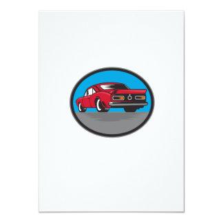 American Vintage Muscle Car Rear Woodcut 11 Cm X 16 Cm Invitation Card