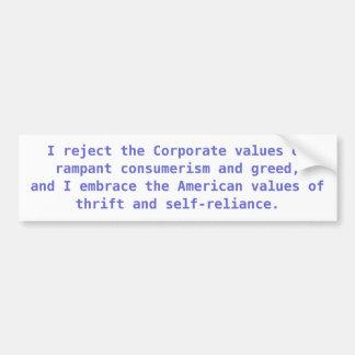 American vs. Corporate Values Bumper Sticker