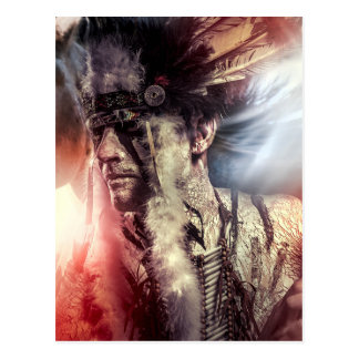 American warrior Indian, chief of the tribe. they Postcard