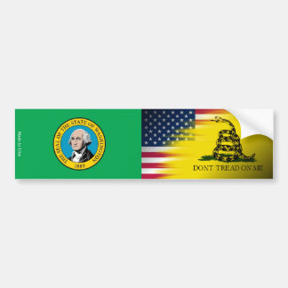 American, Washington & Gadsden Flag Bumper Sticker
