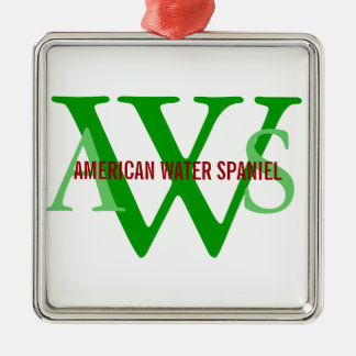 American Water Spaniel Monogram Silver-Colored Square Decoration