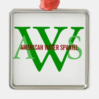 American Water Spaniel Monogram Silver-Colored Square Decoration