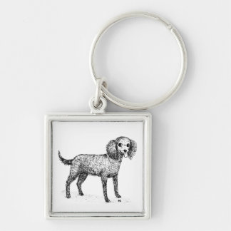 American Water Spaniel Silver-Colored Square Key Ring