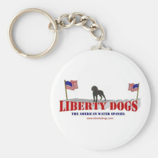 American Water Spaniel with Flags Basic Round Button Key Ring