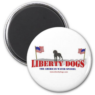 American Water Spaniel with Flags Refrigerator Magnets