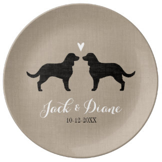 American Water Spaniels with Heart and Text Porcelain Plates