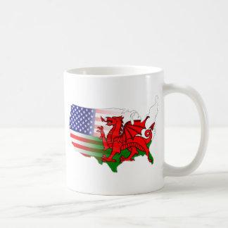 American Welsh Flags Map Mugs