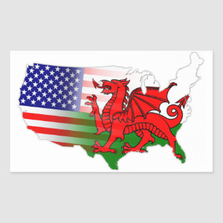American Welsh Flags Map Rectangular Sticker
