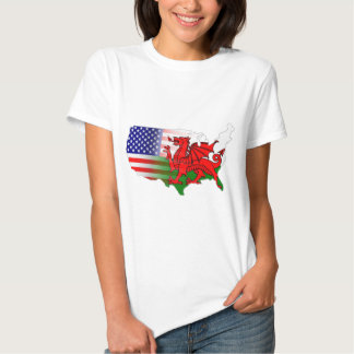 American Welsh Flags Map Tee Shirt