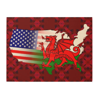 American Welsh Flags Map Wood Canvas