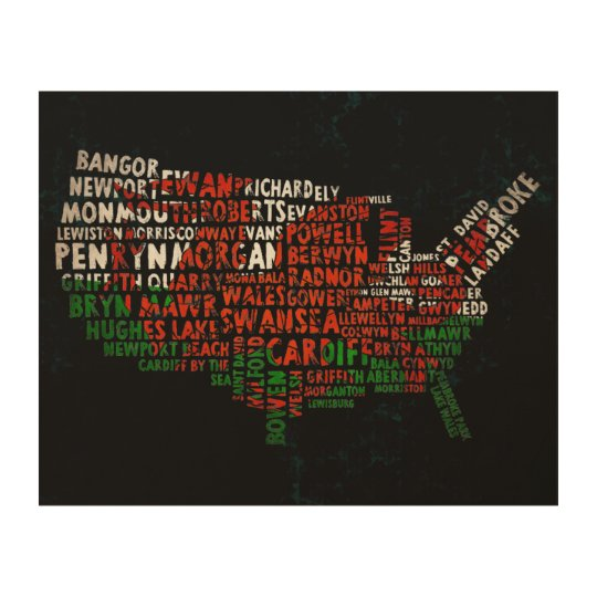 American Welsh Place Names Map Wood Canvas