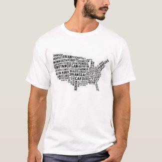 American Welsh Placenames Map Text Art T-Shirt