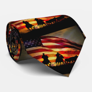 American West Cowboy and Flag Tie