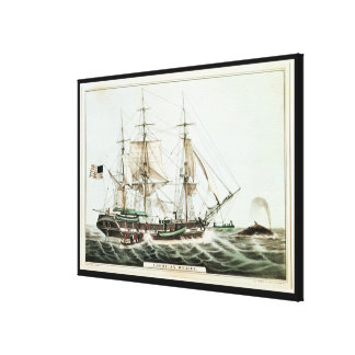 American Whaler, engraved by Nathaniel Currier Canvas Print