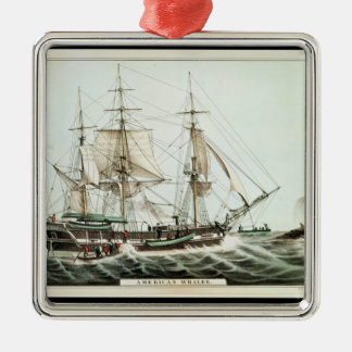 American Whaler, engraved by Nathaniel Currier Christmas Ornament