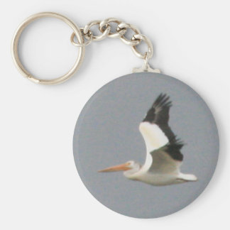 American White Pelican Basic Round Button Key Ring