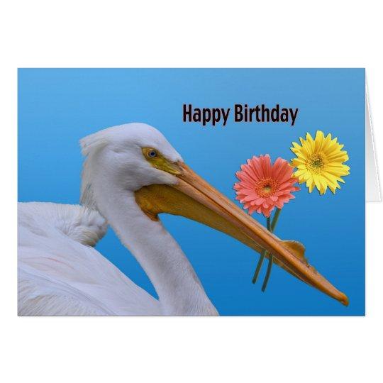 American White Pelican Birthday Card