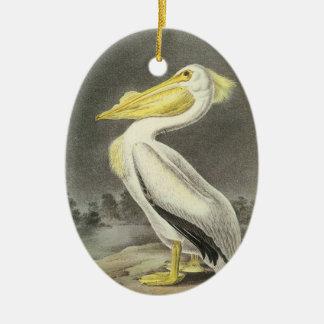 American White Pelican by Audubon Christmas Ornament