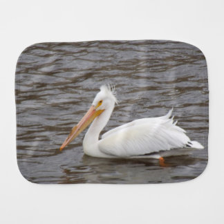 American White Pelican In Breeding Condition Baby Burp Cloths