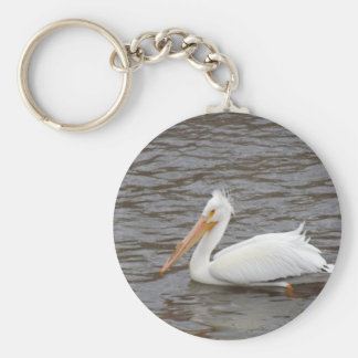 American White Pelican In Breeding Condition Basic Round Button Key Ring