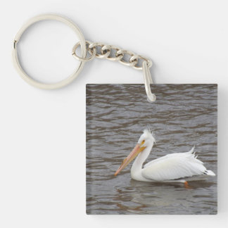 American White Pelican In Breeding Condition Double-Sided Square Acrylic Key Ring