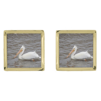 American White Pelican In Breeding Condition Gold Finish Cufflinks
