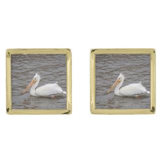 American White Pelican In Breeding Condition Gold Finish Cufflinks