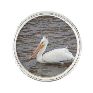 American White Pelican In Breeding Condition Lapel Pin