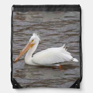 American White Pelican In Breeding Condition Drawstring Bags