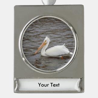 American White Pelican In Breeding Condition Silver Plated Banner Ornament