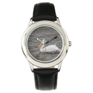 American White Pelican In Breeding Condition Wristwatch