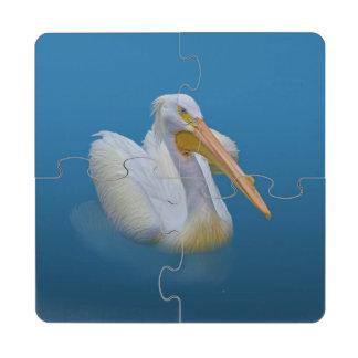 American White Pelican Puzzle Coaster