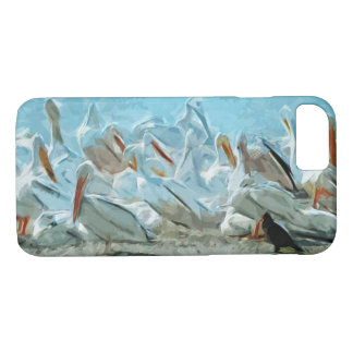American White Pelicans and Friend Abstract iPhone 7 Case