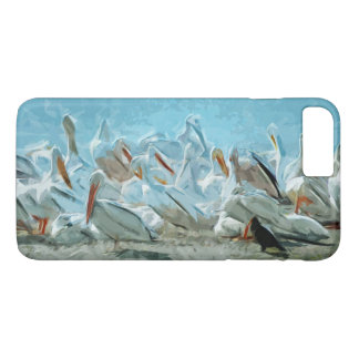 American White Pelicans and Friend Abstract iPhone 7 Plus Case